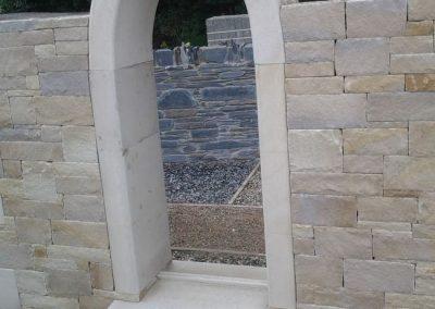 Ashlar Sandstone With Gothic Arch