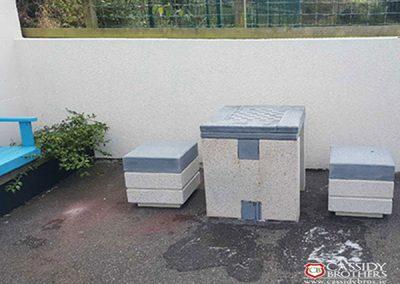 Irish Blue Quartz and Polished Concrete Chess Table