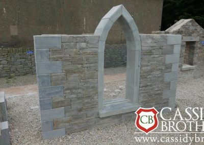 Liscannor-Stone-With-Slate-corner-Stones-and-Irish-Blue-Quartz-polished-sill-and-Gothic-Arch